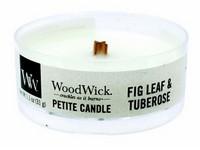 Woodwick Fig Leaf & Tuberose svíčka petite