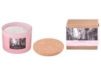 Svíčka ve skle 100x80 mm 3 knoty, s korkovým víčkem vonná Pink Peony and Litch
