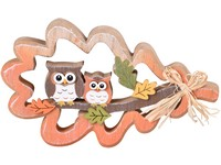 Dřevěná dekorace 100x170x20 mm Sovičky v listu, barevné