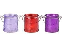 Svícen sklo 60x70 mm  na čajovou/ votivní svíčku, barevný mix