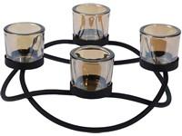 Svícen kov 280 mm kulatý černý na 4ks čaj. Svíčky