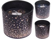 Svíčka ve skle 75mm vonná mix černá, modrá hvězdy, mix