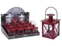 Lucerna kov 100 mm červená mat na čajovou svíčku