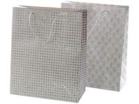 Taška Vánoční 260x320 mm bílo stříbrná, mix