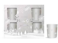 Svíčka ve skle 50x62 mm 6 ks vonná, v dárkové krabičce Snowy Wonderland