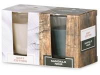 Emocio Sklo 52x65 mm 2 ks v krabičce Soft Cotton & Sandalo Noir, vonná svíčka
