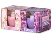 Emocio Sklo 65x63 mm 2 ks v krabičce Orchard Blossom & French Lavender, vonná svíčka
