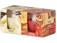 Emocio Sklo 65x63 mm 2 ks v krabičce Vanilla Cream & Apple Cinnamon, vonná svíčka