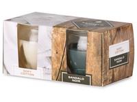 Emocio Sklo 65x63 mm 2 ks v krabičce Soft Cotton & Sandalo Noir, vonná svíčka