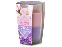 Emocio Sklo 76x118 mm Orchard Blossom & French Lavender dvoubarevná vonná svíčka