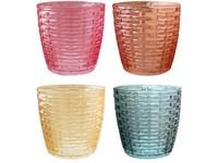 Svícen sklo 75 mm na čajovou svíčku, barevný mix