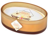 Emocio Sklo barevné 144x102x50 mm ovál 2 knoty Sweet Vanilla vonná svíčka