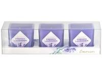 Emocio Sklo barevné 51x51x52 mm 3 ks French Lavender vonná svíčka