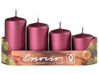 Emocio Stupně 4ks prům.40mm exclusive mat. tmavá malinová svíčky