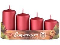 Emocio Stupně 4ks prům.40mm exclusive mat. červené/malinové svíčky