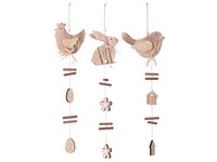 Závěs dřevo 100x90 mm slepička, zajíc, ptáček, mix