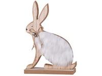 Dřevěná dekorace 170x50x235 mm zajíc s plyšem