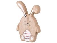 Dřevěná dekorace 95x20x155 mm zajíc s kraslicí