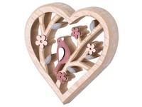 Dřevěná dekorace 125x20x125 mm srdce s ptáčkem, přírodní, růžová