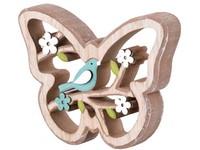 Dřevěná dekorace 130x20x100 mm motýl s ptáčkem, přírodní, modrá