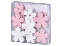 Dekorace dřevo 24ks 40+27 mm kytička bílá, růžová mix