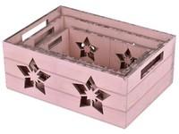Bedýnka dřevo 3 ks 320x230x130 mm, růžová s hvězdou