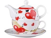 Hrnek keramika s konvičkou a šálkem srdce, set