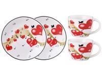 Hrnek keramika2 ks + podšálek 2 ks srdce v dárkové krabičce