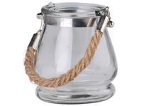 Lampa sklo 95x90mm se závěsem lano, čirá