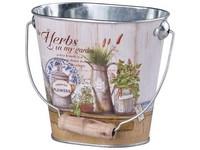 Květináč  plechový 125x80x110mm,oválný s uchem, the Herbs