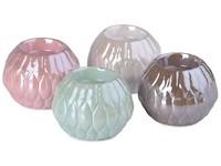 Svícen na čajovou svíčku keramika 94x94x70mm, mix barev