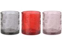 Svícen sklo 73x80 mm na maxi čajovou svíčku, sněhová vločka, mix barev