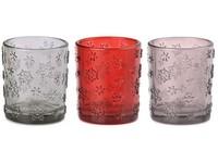 Svícen sklo 55x65 mm na  čajovou svíčku, sněhová vločka, mix barev