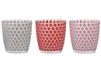 Svícen sklo 90X90 mm na maxi čajovou svíčku, puntik,mix barev