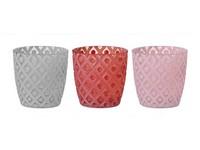 Svícen sklo 75x75 mm na čajovou svíčku, mix barev