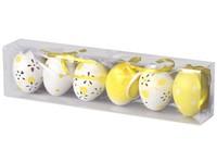 Kraslice 6ks 60 mm zdobená v tubusu, žlutá, bílá