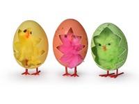 Kuře 3 ks,ve vajíčku, barevné, v krabičce