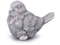 Pták, sádrový 68x55mm, lakovaný, šedý