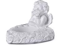 Anděl na čajovou svíčku, sádrový 80x60mm, bílý