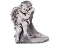 Anděl, sádrový 270x310mm, lakovaný, šedý