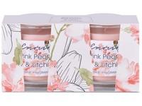 Emocio Sklo 50x63 mm 2ks v krabičce, Pink peony & Litchi vonná svíčka