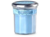 Emocio Sklo modré 69x85 mm s plechovým víčkem, Sea salt & Coconut vonná svíčka