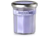 Emocio Sklo fialové 69x85 mm s plechovým víčkem, Island Spa vonná svíčka