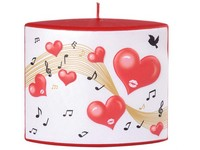 Srdce s notami Elipsa 110x40x110mm červená svíčka