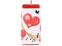 Srdce s notami Hranol 50x100mm červená svíčka