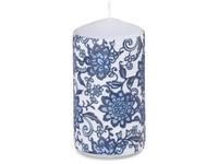 Válec 60x110mm aplikace Ornament modrá svíčka