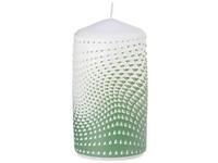 Válec 60x110mm Op art 3D geometrie, zelená svíčka