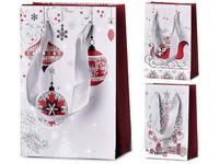 Taška dárková 100X150 mm vánoční motivy různé s glitrem mix