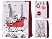 Taška dárková 180X230 mm vánoční motivy různé s glitrem mix