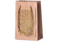 Taška dárková 100x150 mm vánoční design s glitrem 3D, přírodní